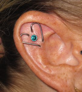 Custom Bent Heart Helix Ear Project for Earmaggedon with Industrial Strength by Christina Shull