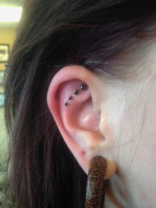 Faux Rook Piercings with Bezel Set Black Gems from Neometal by Christina Shull